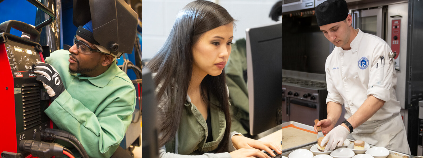 Images of students working.