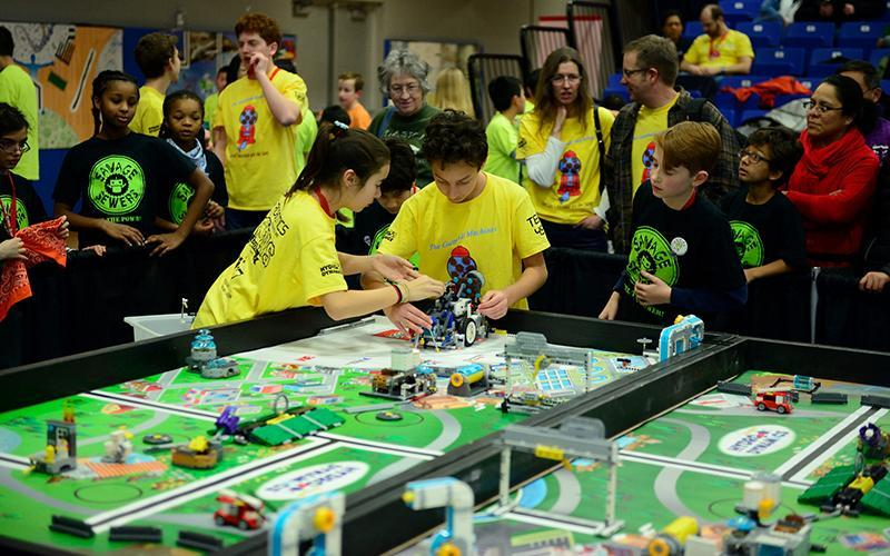 Students compete in a Lego Robotics Competition
