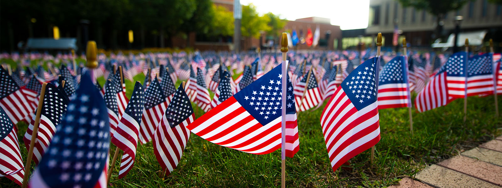 Dozens of American flags move with the wind in the ECC courtyard.